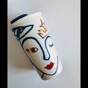 Swarovski crystal lips & crown ceramic